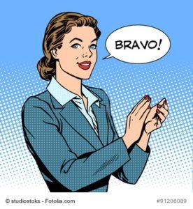 "Illustration Frau sagt ""Bravo!"""