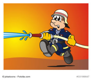 Illustration Feuerwehrmann im Einsatz