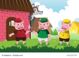 Illustration drei kleine Schweinchen und Wolf